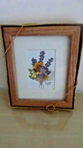Small Wooden Framed Picture of Irish Bouquet–Lavender Spray using Dried Flowers