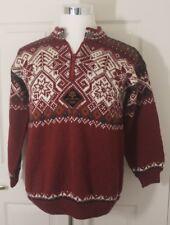 Salt Lake 2002 Olympics Wool Red Hand Knit Ski Dale of Norway(?) Sweater Sz XS-S