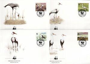 MALAWI 1987 WWF WATTLED CRANE BIRDS SET ON FDC'S (x4)