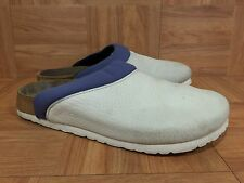 CUTE❤️ Papillio By Birkenstock Rae Leather Clogs White Blue Liner Sz 38 7 7.5