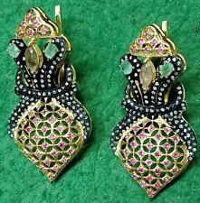 Pave Diamond,Emerald,Tourmaline,Ruby Gems 925 Silver Victorian Jewelry Earring