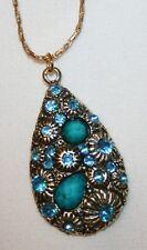 Lovely Blue Rhinestone Starburst Flowers Teardrop Pendant Necklace