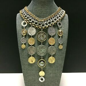 New CHICO'S Egyptian Collar BIB NECKLACE Silver Gold Coin Crystal Dangles SS44U