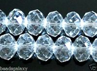 faceted rondelle glass crystal beads,  clear white, option for 6, 8, 10 mm