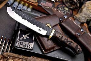CFK IPAK Handmade DC53 Custom EAGLE FOREST Engraved Walnut Hunter Skinner Knife