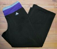 Adidas Climalite Cropped Capri Pants Womens Small Black Purple Athletic Workout