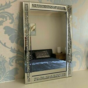 SILVER CRUSHED JEWEL LOOSE DIAMOND WALL MIRROR DRESSING MAKE UP GIRLS BEDROOM