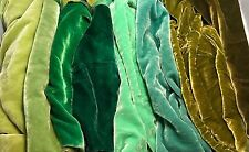 "Greens Sample Set - Hand Dyed Silk Velvet Fabric - 9""x22"" Each"