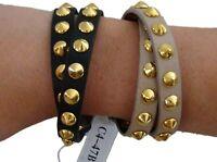 Rush Tan or Black Leather Wrap Belt Bracelet Studded Gold-Tone