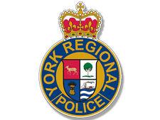 3.5x4 inch YORK REGIONAL Police Badge Shape Sticker  - canada ontario crest law