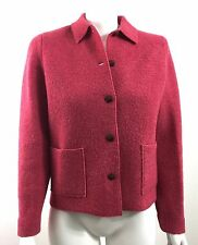 Lands End Womens Boiled Wool Jacket Pink Heather size 2 Petite WORN ONCE