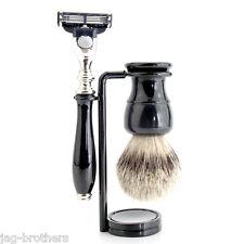 Stile classico argento TIP Badger capelli spazzola Mach 3 con manico nero + Cavalletto