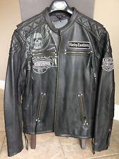Harley Davidson Men DESTINATION Winged Skull Black Leather Jacket XL 97193-14VM