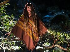 Brown Handmade Cashmere Poncho with Hood, Earthy Tribal Pattern Festival Gypsy A