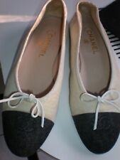 AUTHENTIC CHANEL BALLERINA FLATS CREAM WITH BLACK CANVAS SIZE 39 SHOES  TWO TONE