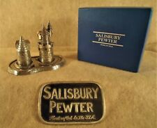 """Salisbury Pewter """"First Tooth/Curl"""" Castle set w/tray Handcrafted in Usa Nib"""