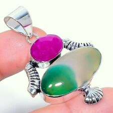 Green Lace Agate, Ruby 925 Sterling Silver Jewelry Pendant 2.32 8793