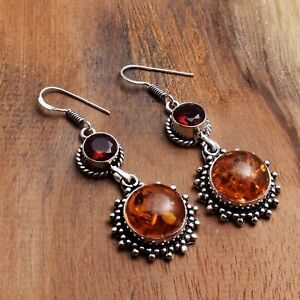 "Amber Garnet Handmade Drop Dangle Earrings Jewelry 2"" AE 97940"