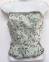 Oleg Cassini Black Tie Beaded Embroidered Green Bustier Size Medium