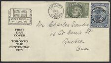 1934 #208-209 Cartier/Loyalists FDC, Loyalists/Toronto Centennial Cachet