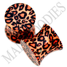 0191 Double Flare Acrylic Leopard Cheetah Print Saddle Ear Plugs 0G Gauge 8mm