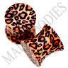 0191 Double Flare Acrylic Leopard Cheetah Print Saddle Ear Plugs 0G Gauge 8mm
