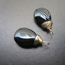 2 Smooth BLACK ONYX Gemstone Drops for Interchangeable Earrings