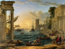 Embarkation Of Queen of Sheba Giclee Canvas Picture Poster Print Lorrain NEW