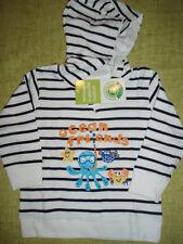 Baby Hoody Kapuzen langarm Shirt Pulli Sweater Maritim Look Fische Gr.86 - NEU