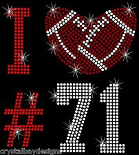 Football Number I Love Mom Team Bling Rhinestone Transfer Hot Fix Iron On 52-27
