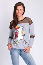 Ladies Fancy Jumper Mesh Sequins Leghorn Print Party Top Sizes 8 - 14 FC2064