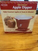 2007 Back to Basics Microwave Apple Dipper 3 Piece Lid Bowl Dip Fork Red White
