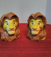1998 Lion King Adult Simba Cup Mug With Hinged Lid From Disney on Ice Lot of 2