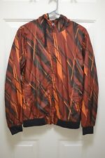 Fox Racing Mens Medium Red Orange Full Zip Hooded Windbreaker jacket Sz S