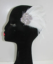 White & Silver Rhinestone Feather Fascinator Hair Clip Bridal Vintage 1920s 7AY