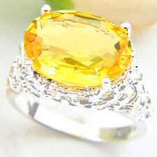 Valentine's Day Oval Fire Royal Citrine Gemstone 925 Silver Rings Size 7 8 9