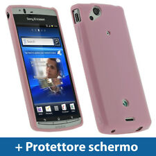 Rosa Custodia TPU Gel per Sony Ericsson Xperia Arc S Android Case Cover Rigida