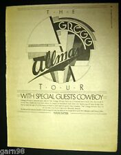 Gregg Allman Tour Concert Poster Full Page Ad 1974 Ny