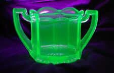 "Depression Glass Green Sugar Bowl 3"" Tall Glows UV Light Vintage Uranium Mid-Mod"