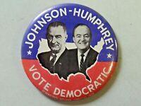 "Vintage Political Pinback Button Johnson - Humphrey Vote Democratic 1964 3 1/2"""