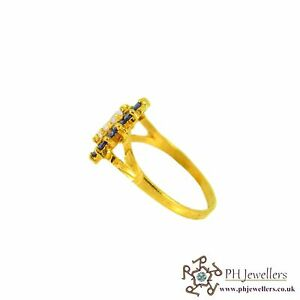 22ct 916 Indian Yellow Gold Oval Sapphire Ring with CZ Size N SR129