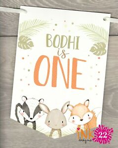 Personalised Birthday Woodland Animals Party Banner Bunting flags 1st 2nd 3rd