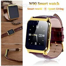 Gold W90   Bluetooth Smart Watch SIM Watch Phone Mate For IOS Android LG iPhone