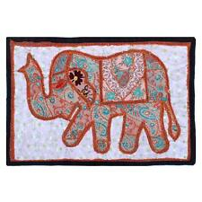 WallHanging Vintage Elephant Indian Handmade Embroidered Patchwork Tapestry