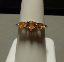 1.12ct Size 7 Spessartite Garnet & White Topaz Sterling Silver Ring Spessartine