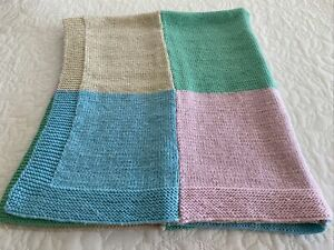 Hand Knitted Colourful Granny Squares Throw Cot Blanket 110 cm x 95 cm VGUC