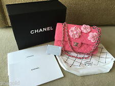 NEW CHANEL 2016 CRUISE PINK TWEED CAMELLIA APPLIQUE MEDIUM DOUBLE FLAP BAG $7000