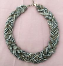 Silver, White & Gold Plaited Bead Necklace