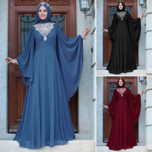Dubai Abaya Dress Muslim Women Islam Maxi Kaftan Gown Jilbab Robe Party Ramadan