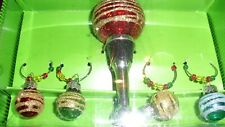 Glass Christmas Holiday STOPPER Drink Wine Glass Charms Set of 4 Pier 1 Imports